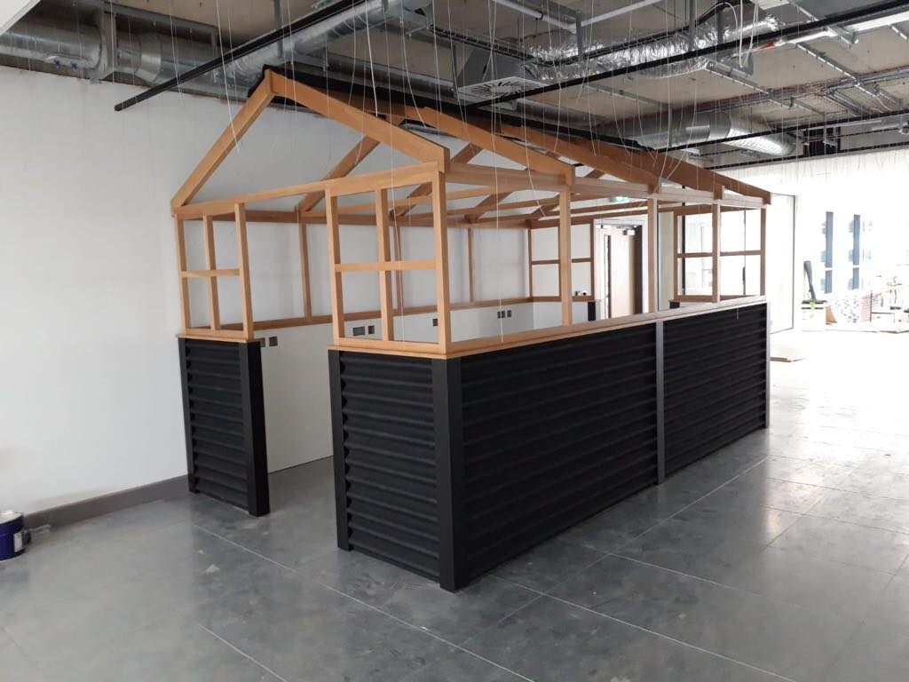 Shed inspired bespoke fitted office furniture